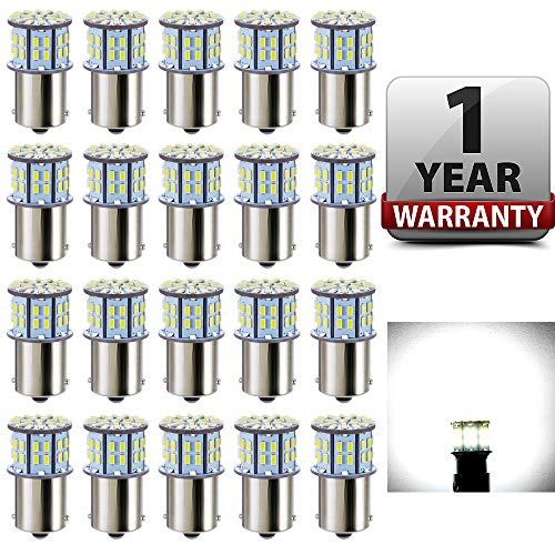 Antline 1156 1141 1003 7506 BA15S LED Bulbs White 20-Packs, Super Bright 3014 50-SMD LED Replacement 12 Volt RV Camper Trailer Boat Trunk Interior Lights