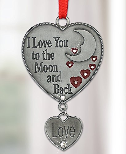 I Love You to the Moon and Back Heart Shaped Ornament Enameled & Jeweled Accents Hanging Charm - Gift for Wife Girlfriend Her