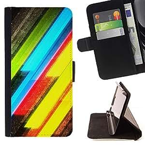 For LG G2 D800 Case , Neón Líneas Amarillo Verde Eléctrico- la tarjeta de Crédito Slots PU Funda de cuero Monedero caso cubierta de piel