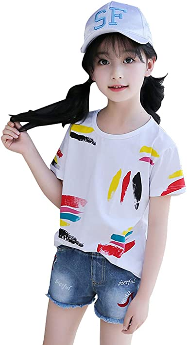 Amazon Com Mv Girls Summer New Girls Big Children Korean Fashion Graffiti Cotton Girls T Shirt Clothing
