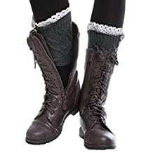 Yelete Womens Dark Blue Boot Leg Warmers with Ivory Lace Crocheted Detail & Buttons