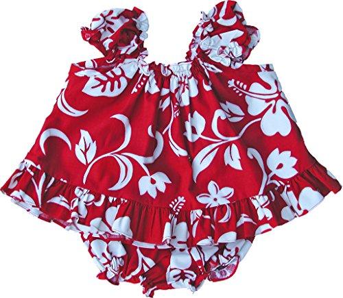 RJC Baby Girl's Hibiscus Pareo Puff Sleeve Hawaiian 2 Piece Dress Set Red 4T