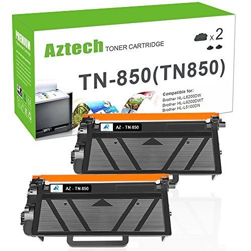AZTECH 2 Pack 8000 High Yield Black Compatible TN820 MFC L5850DW L6800DW Toner Cartridge for Brother HLL6200DW TN850 TN-850 Brother HL-L6200DWT HL-L5100DN HL-L5200DW MFCL5900DW Business Laser Printer Compatible Black Drum Cartridge