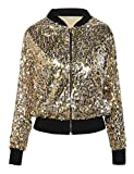 PrettyGuide Women's Sequin Jacket Glitter Long Sleeve Zipper Up Sport Coat M/4-6 Gold