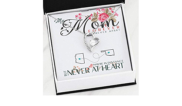 Heart Necklace Pendant Necklace with Message for Mother Daughter FamilyGift Mom and Daughter Necklace My Mom Forever Never Apart Maybe in Distance But Never at Heart Oklahoma North Dakota
