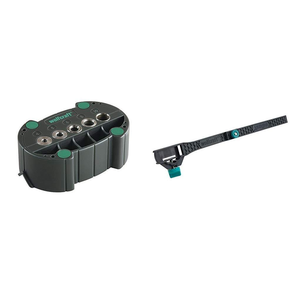 wolfcraft accumobil Mobile Bohrhilfe 4685000 | Handliches Bohrzubehör für rechtwinkliges & 5223000 Innenmaß-Adapter für Zollstöcke