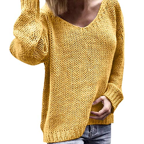 Sweatshirt for Womens, FORUU Ladies Winter Warm Fashion V Neck Long Sleeve Solid Loose Knitted Sweaters