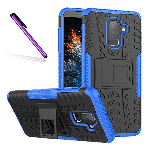 Pattern Tyre - J8 2018 Case, Tyre Pattern Design Heavy Duty Tough Armor Extreme Protection Case With Kickstand Shock Absorbing Detachable 2 in 1 Case Cover For Samsung Galaxy J8 2018. Hyun Blue