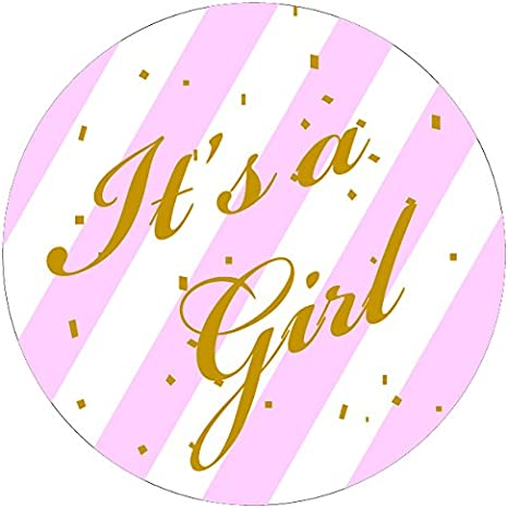 """It/'s a Girl Sticker Pink White 1 1//4/"""" Stickers Envelope Seals Guess Stickers"""