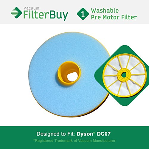 FilterBuy Replacement Filter for Dyson DC07 (DC-07). Compatible with Dyson Part # 904979-02. Designed to be Compatible with Dyson DC07 Upright Vacuum Cleaners.