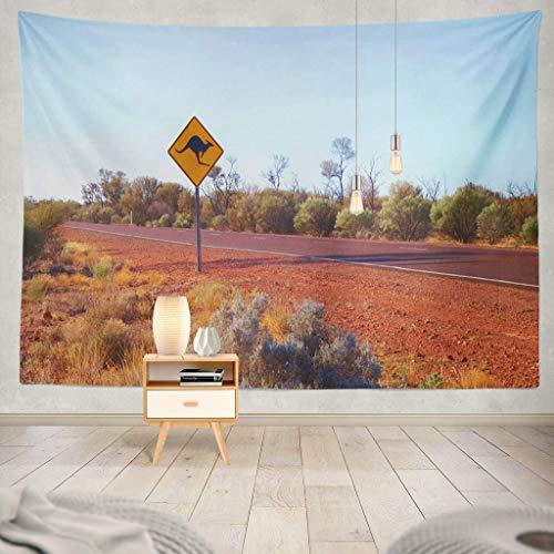 Road Sign Kangaroo (KIMILT HEY Eco-Friendly Silky Tapestry Australian Famous Kangaroo Road Sign Desert South Australia Australia Australian Kangaroo Queensland WildlifeWall Hanging,Picnic Blanket,Tablecloth,60X60)