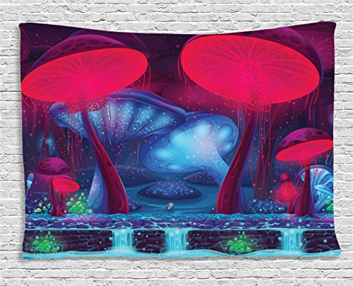 Mushroom Decor Tapestry by Ambesonne, Magic Mushrooms with Vibrant Neon Lights Graphic Image Enchanted Forest Theme Print, Wall Hanging for Bedroom Living Room Dorm, 80W X 60L Inches, Blue and Red