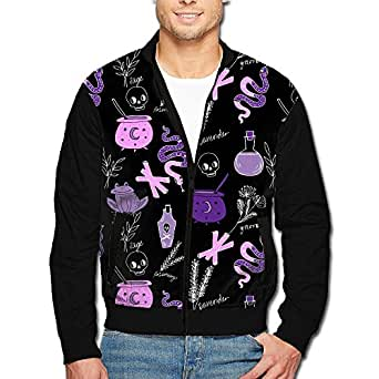 niasd Halloween Snake Skull Mens Zip Open Front Jacket Outwear
