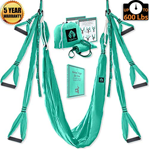 Aerial Yoga Swing Set – Yoga Hammock – Aerial Trapeze Kit + 2 Extension Straps & eBook – Large Flying Yoga Inversion Tool – Anti-Gravity Hanging Yoga Sling – Indoor Outdoor Fly Yoga – Men Women Kids
