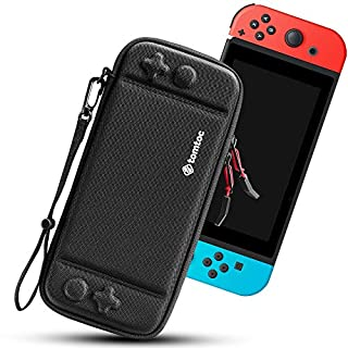 tomtoc Carry Case for Nintendo Switch, Ultra Slim Hard Shell with 10 Game Cartridges, Protective Carrying Case for Travel, with Original Patent and Military Level Protection, Black