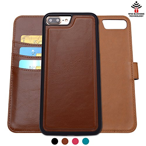 Shanshui Detachable 2 in 1 Leather Wallet Case with RFID Card Holders and Cash Pocket for iPhone 7 Plus - Brown