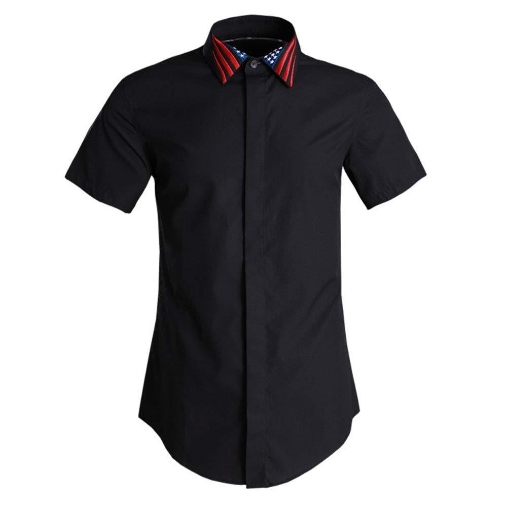 Noir XX-grand Chemise à hommeches courtes pour hommes Chemises de travail pour hommes d'affaires à hommeches courtes pour hommes d'été Chemise Décontracté Plage Tropicale Vacances ( Couleur   Noir , Taille   3XL )