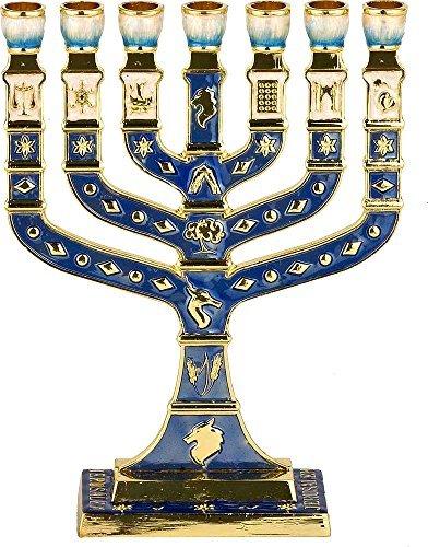 - Blue Enamel Menorah 7 Branches Jerusalem 12 Tribes of Israel - Height 5 inch