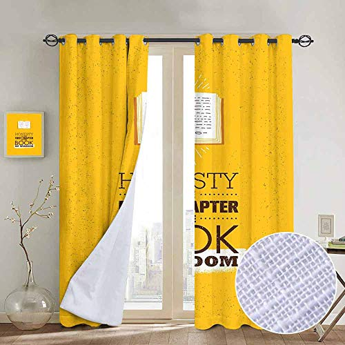 NUOMANAN Bedroom Curtains Book,Book of Wisdom Inspirational Quote on Yellow Background Chapter of Honesty,Earth Yellow Redwood,Thermal Insulated Room Darkening Window Shade 52