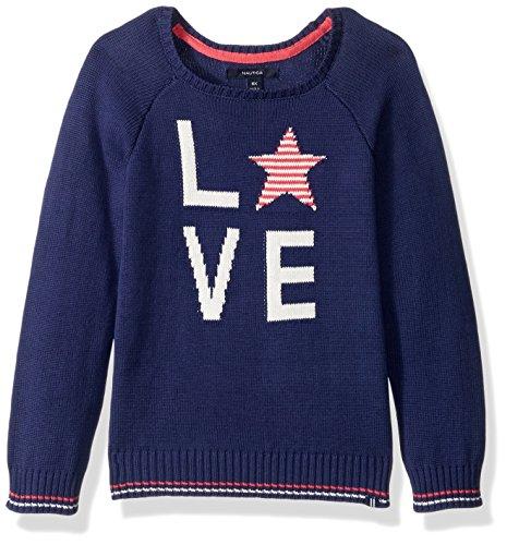 Nautica Little Girls' Jersey Sweater with Intarsia Artwork, Medium Navy Love, 5 by Nautica (Image #1)