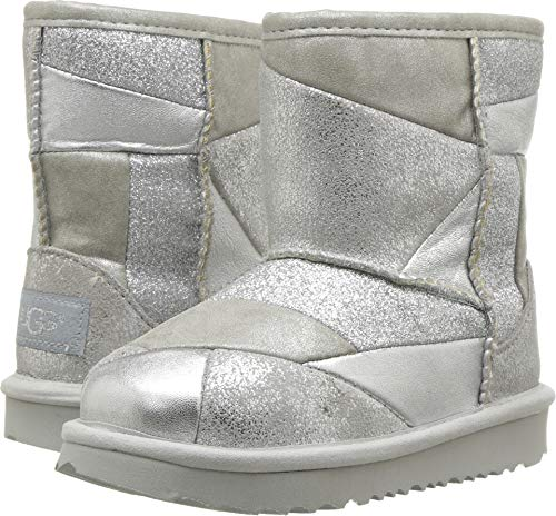 (UGG Girls' T Classic Short II Patchwork Fashion Boot, Silver, 10 M US Toddler)