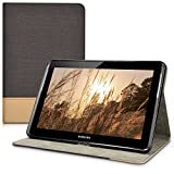 kwmobile Case for Samsung Galaxy Tab 2 10.1 P5100/P5110 - PU Leather and Canvas Protective Cover with Stand Feature - Black/Brown