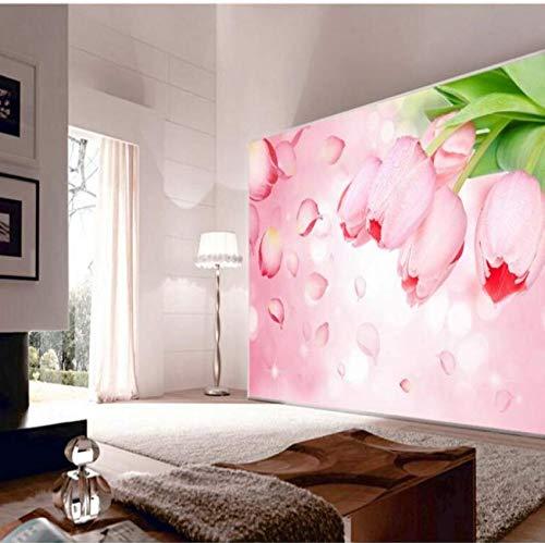 - Yynight Large Fresco Romantic Tulip Tv Bedroom Backdrop Non - Woven Wallpaper -400Cmx280Cm