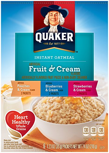 Quaker Instant Oatmeal, Fruit and Cream Variety Pack, Breakfast Cereal, 6 Packets Per Box (Pack of 6 Boxes)