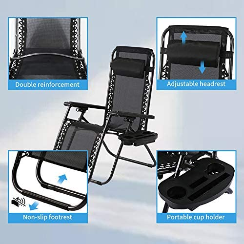 Zero Gravity Chair Outdoor Folding Adjustable Heavy Duty Camp Reclining Patio Chair