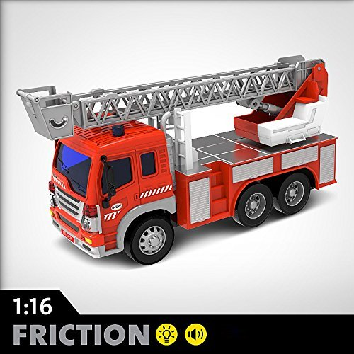 - FMT 1:16 Friction Powered Toy Fire Engine Rescue Truck With Lights & Sound Push & Go Friction Truck Toy For Boys & Girls