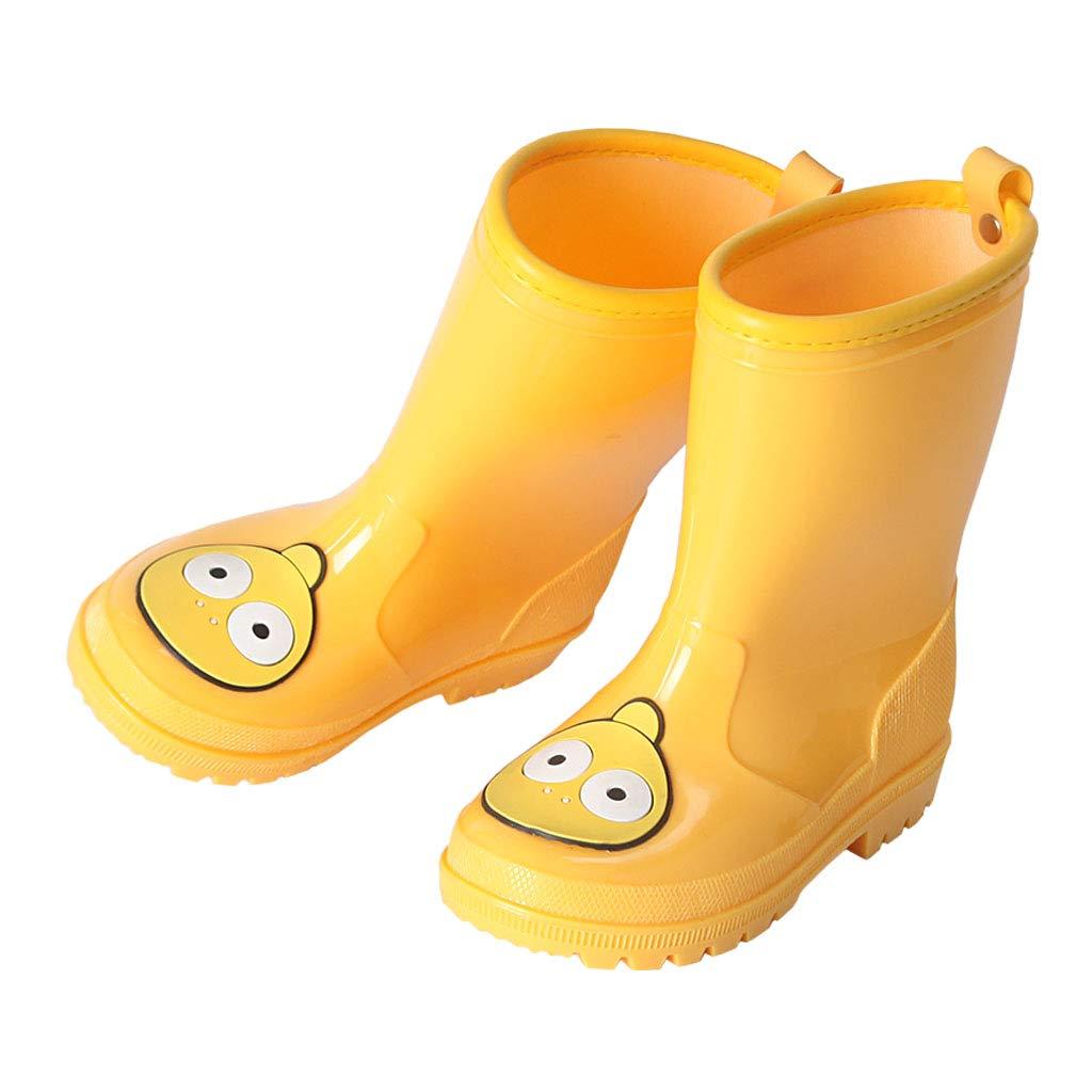 Toddler Kids Rain Boots Girls Waterproof Boys Cartoon Rubber Rain Shoes Wear Brown Bear 7 US
