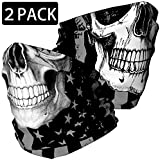 Skull Face Mask Bandana, Motorcycle Face Mask for Men Women, Skeleton Half Face Mask Sun UV Dust Wind Protection Breathable Rave Face Scarf Neck Gaiter for Biker Riding