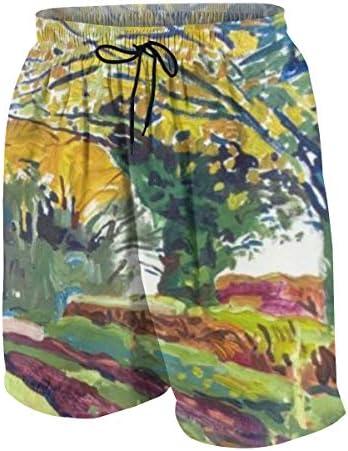 キッズ ビーチパンツ 秋 色 木 アート 自然風景 油絵 サーフパンツ 海パン 水着 海水パンツ ショートパンツ サーフトランクス スポーツパンツ ジュニア 半ズボン ファッション 人気 おしゃれ 子供 青少年 ボーイズ 水陸両用