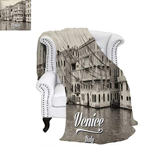 - Digital Printing Blanket Old Photo of Venice Italian City Vintage Filter Effect and Lettering History Memory Summer Quilt Comforter 70