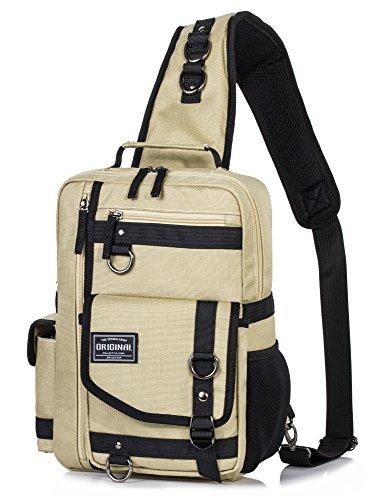 H Hikker-Link Messenger Bag for Men Cross Body Shoulder Sling Bag Backpack Khaki ()