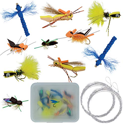 Thor Outdoor Topwater Fly Fishing Kit for Bass & Panfish | 10 pc Assortment + Tapered Leader | Hook Size 6-10 | Foam Poppers, Hoppers, Dry Flies and Attractors