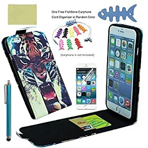 QYF PU Leather Full Body Cases Includes Screen Protector and Fishbone and Stylus for iPhone 6