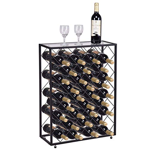 Giantex Wine Rack 32 Bottles Storage Shelf Wine Display Rack Bottle Storage Holder Stand Wine Bottles Organizer w/Glass Top and Metal Frame