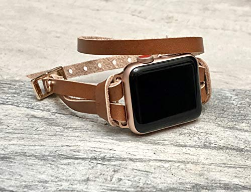 (Rose Gold Jewelry & Light Brown Leather Bracelet for Apple Watch 38mm 40mm 42mm 44mm All Series Handmade Adjustable Double Wrap Apple iWatch Band Women Fashion Apple Watch Bracelet)