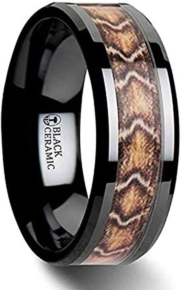 8mm Eternal Tungsten Fang Black Ceramic Wedding Ring with Boa Snake Skin Design Inlay