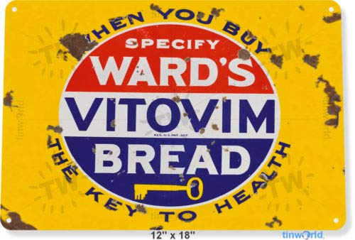 TIN Sign 8x12 inch Wards Vitamin Bread Metal Decorrt Kitchen Cottage
