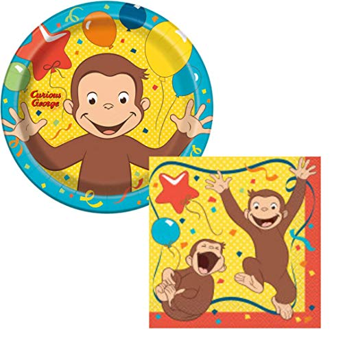 (Curious George Birthday Party Supplies Set Large Plates & Napkins Tableware Kit for)