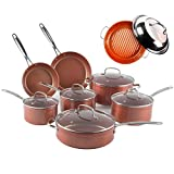 NuWave Duralon Ceramic Nonstick 12-Piece Cookware Set (Cookware w/ Grill Pan)