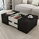 Festnight Square Coffee Table Dining Room High Gloss Modern End Side Table With A Concealed Storage Compartment 23.6 x 23.6 x 11.8 (Black)