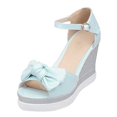 YE Wedges Sandaletten High Heels Plateau Sandalen mit Keilabsatz Peeptoe Schleife Damen Sommer Schuhe  35 EURosa
