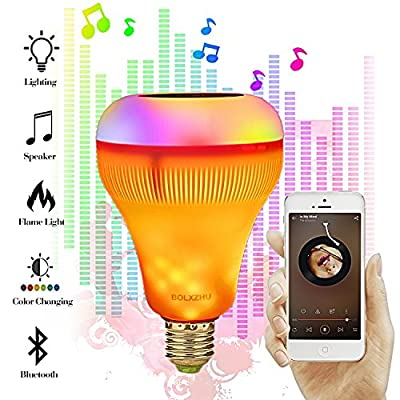 LED Music Light Bulb with Flame Effect Light, BOLXZHU E27 LED Smart Light with Bluetooth Speaker RGB Color Changing Light for Home, Bedroom, Living Room, Party Decoration