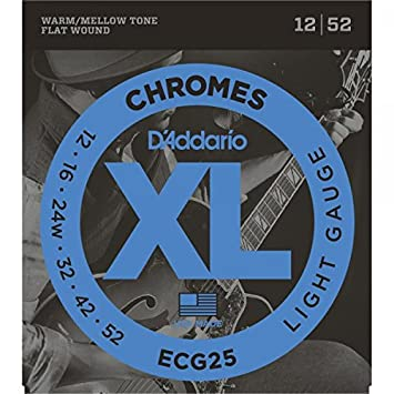 D Addario Chromes - Cuerdas para guitarra eléctrica Set, Flatwound, ECG25 luz .