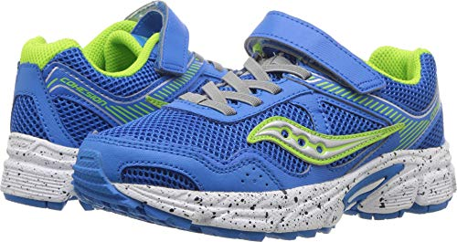 Saucony Boys' Cohesion 10 Lace Running Shoe, Grey/Lime, 3 Medium US Little Kid