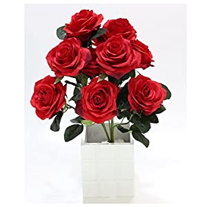 10pcs Artificial Roses Flower Fake Silk Bridal for Wedding Celebration Hand Bouquet Birthday Flowers Hotel Party Office Garden Floral Decor Living Room Table Bunch 44