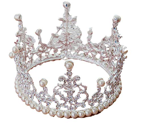 Royal Girl Cake Topper Tiara Decoration Silver Rhinestone & Imitation Pearls Round Full Crown (Handcrafted)